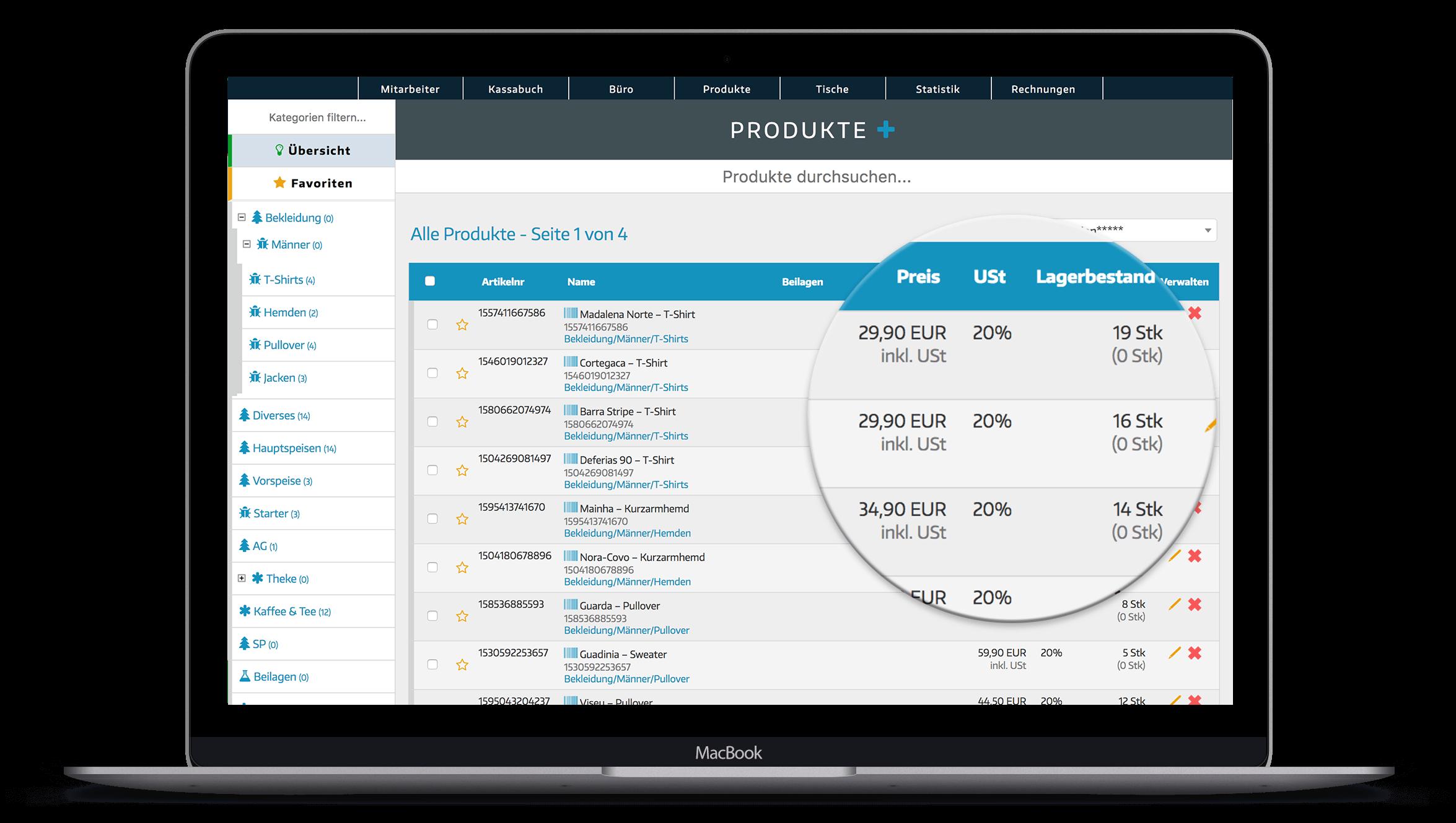 Registrierkassen System mit Warenwirtschaft