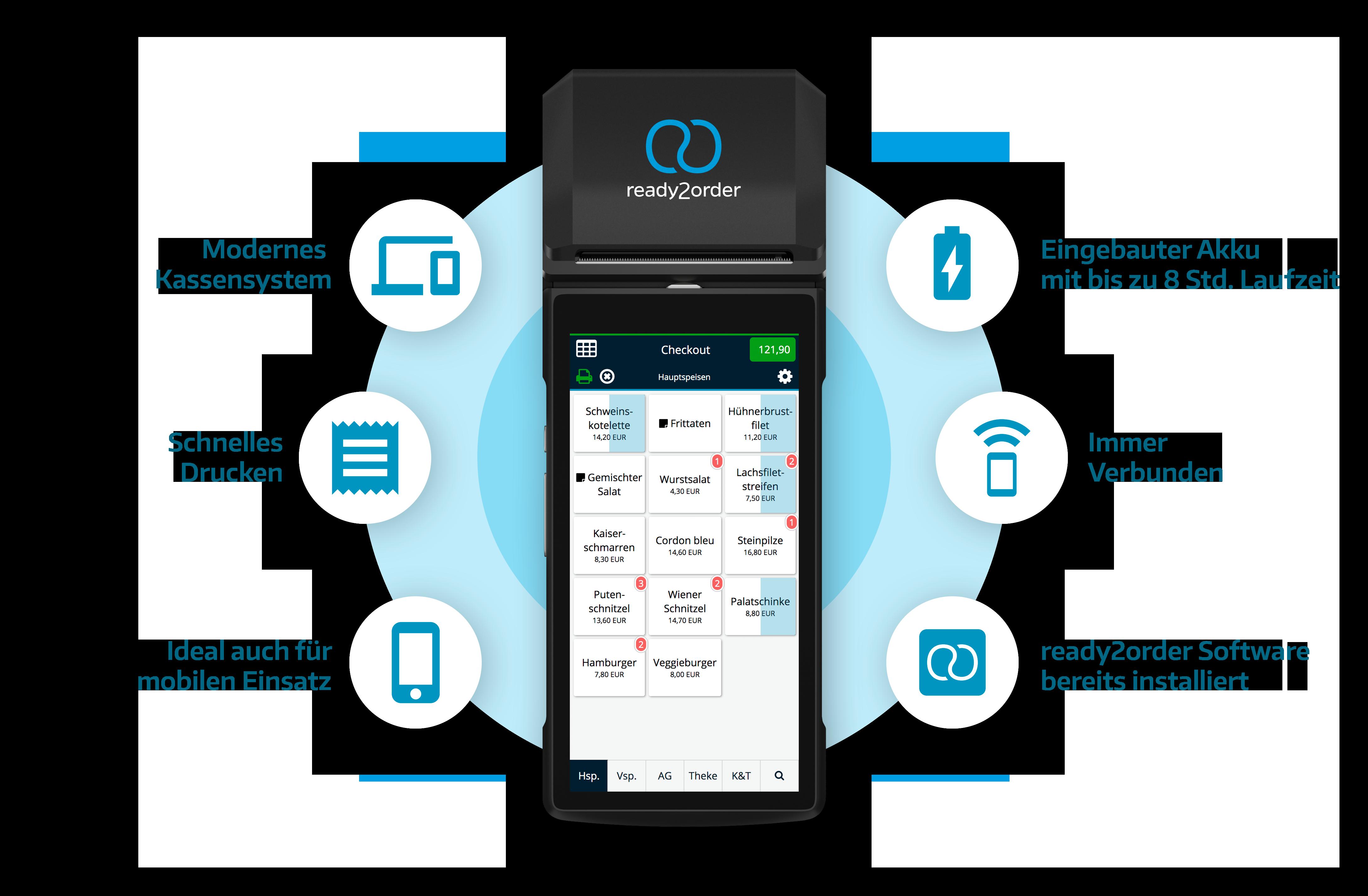 readyP2 Mobile Registrierkasse mit Drucker Funktionen