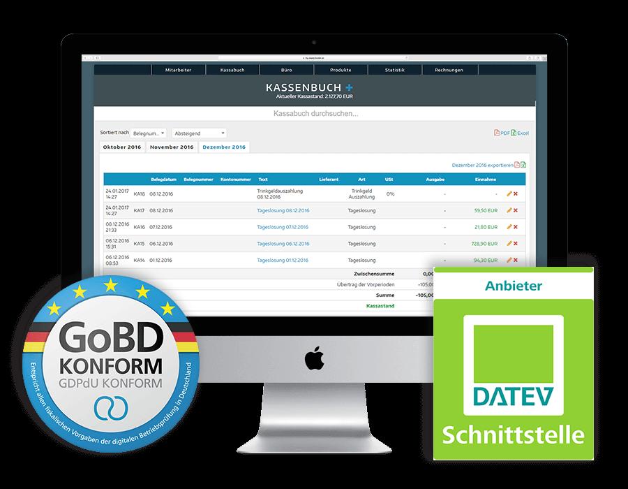 Kassenbuch Software DATEV Export und GoBD konform