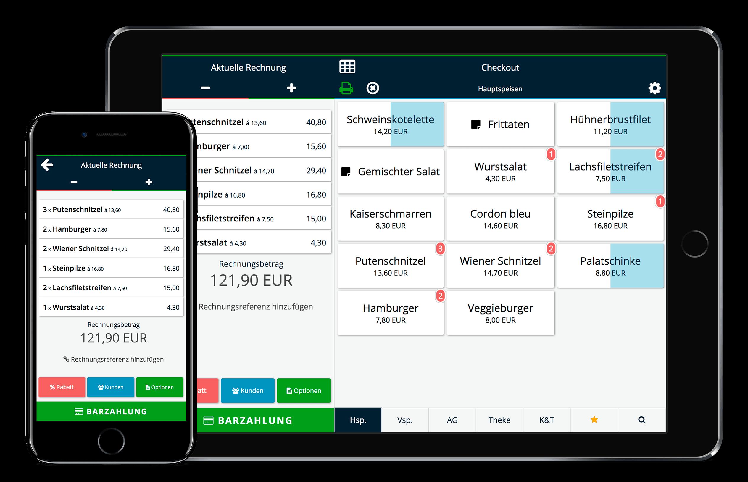 Kassensytem von ready2order auf Handy und Tablet