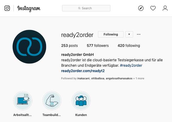 Instagram Profil ready2order