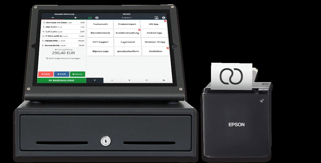Tablet mit Kassensoftware Ladenkasse und Bondrucker